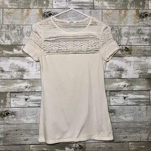 H&M Cream Short Sleeve Lace Detail Top Size Small